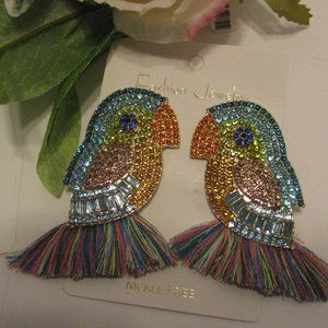 Bird Jeweled Handcrafted Earrings Gorgeous New